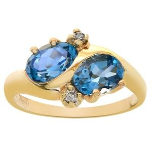 1.83 Carat London Blue Topaz & Diamond Gold Ring